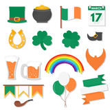 March 17, Saint Patricks Day elements set. Set of St. Patricks Day flat design elements, icons. Vector, eps10 stock illustration