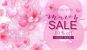 8 march sale background with flower, heart Royalty Free Stock Photo