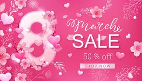 8 march sale background with flower, heart. 8 march sale background with flower, cherry blossoms, sakura, heart. Spring, fashion, chic holiday card banner design Stock Image