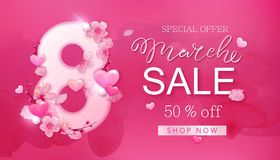 8 march sale background with flower, heart. 8 march sale background with flower, cherry blossoms, sakura, heart. Spring, fashion, chic holiday card banner design royalty free illustration