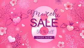 8 march sale background with flower, heart Stock Image