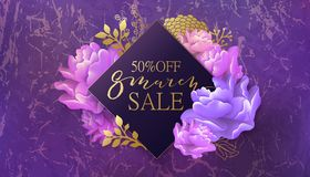 8 march sale banner with flower, marble . 8 march sale background with flower. Pink and violet marble backdrop. Spring, fashion, chic holiday card, banner stock illustration