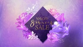 8 march sale banner with flower, marble . 8 march sale background with flower. Pink and violet marble backdrop. Spring, fashion, chic holiday card, banner vector illustration