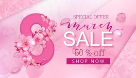 8 march sale banner with heart and sakura. 8 march background design with flower and pearl. Modern holiday background vector illustration