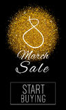 8 march sale banner. Vector banner of 8 March Sales period with start buying button on it. 8 march sale banner with golden sparkles royalty free illustration