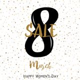8 March. Sale card for Women`s day with handwritten text. Vector.  vector illustration