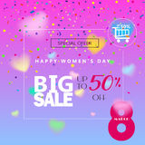 8 march sale. Sale Discount banner for Happy Women`s Day, Eighth March. Spring Holiday Sale, gift card, coupon. Futuristic, coupon trendy design. Marketing royalty free illustration