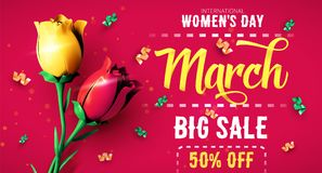 8 March. International Women`s Day. Happy Mother`s Day. 8 March sale flyer. International Women`s Day. Happy Mother`s Day. Flowers with confetti on red stock illustration