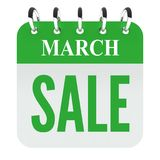 March sale on green calendar file. Isolated on white background stock illustration