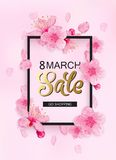 8 march sale spring background design. Cherry blossoms, petals, leaves with frame and place for text stock illustration