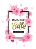 8 march sale spring background design. Cherry blossoms, petals, leaves with frame and place for text royalty free illustration