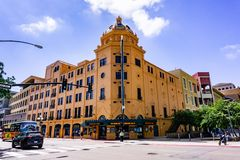 March 19, 2019 San Diego / CA / USA - Balboa Theater in the Gaslamp Quarter in downtown San Diego royalty free stock photography