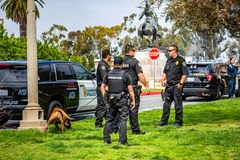 March 19, 2019 San Diego / CA / USA - K9 Unit performing exercises in Balboa Park royalty free stock image