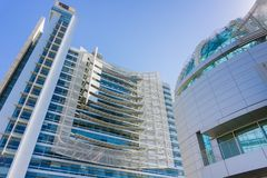 March 14, 2017, San Jose, California/USA - Close up of the modern City Hall building of San José on a sunny day, Silicon Valley,. California royalty free stock photo