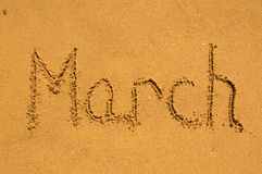 March  in the sand Royalty Free Stock Photo