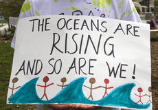 March For Science Sign, The Oceans Are Rising And So Are We Stock Images