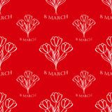 8 march seamless pattern. sketch. vector. 8 march red seamless pattern  with white tulips. sketch. vector Stock Photos