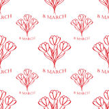 8 march seamless pattern. sketch. vector. 8 march white  seamless pattern  with red tulips. sketch. vector Stock Photos