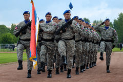 March of Serbian flag unit Stock Photo