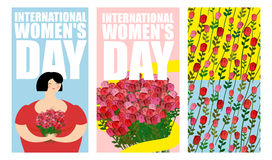 8 March. Set of postcards. International womens day. Cheerful Wo. 8 March. Set of postcard. International womens day. Cheerful Woman and big bouquet of roses Royalty Free Stock Images