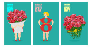 8 March set of postcards. International womens day. Woman and ba. Sket of flowers. Holiday gift bouquet of red roses. Silhouette girl in Figure 8 vector illustration