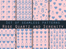 8 March. Set of seamless patterns. Patterns with hearts, rings, flowers and diamonds. Rose quartz and serenity. Vector illustration stock illustration