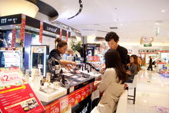 Shenzhen china: cosmetics counters Stock Photos