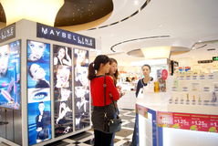 Shenzhen china: cosmetics counters Stock Images