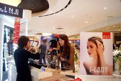 Shenzhen china: cosmetics counters Stock Image