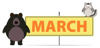 March sign with bear and chipmunk. Illustration stock illustration