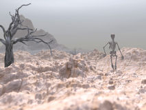 March of a skelleton. Surreal, digital rendering Royalty Free Stock Image