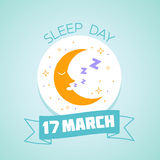 17 March  sleep Day. Calendar for each day on March Stock Image