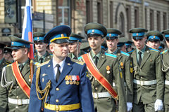 March of soldiers on a parade Royalty Free Stock Photo