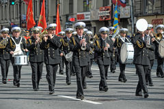 March of soldiers on a parade Royalty Free Stock Photography