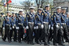 March of soldiers on a parade Royalty Free Stock Image