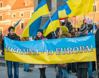 March of solidarity with Ukraine. WARSAW, POLAND - NOVEMBER 23: a march of solidarity with Ukraine on the anniversary of the revolution dignity in Ukraine in Royalty Free Stock Photo