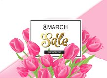 8 march spring banner with pink tulips. 8 march day spring banner with pink tulips Royalty Free Stock Photography