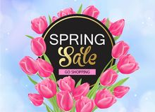 8 march spring banner with pink tulips. 8 march day spring banner with pink tulips Royalty Free Stock Photos