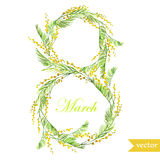 March 8, spring, flowers, card, symbol, mimosa, wreath,7 Royalty Free Stock Photo