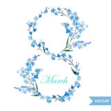 March 8, spring, flowers, card, symbol, mimosa, wreath,5 Stock Photography