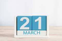 March 21st. Day 21 of month, daily calendar on wooden table background. Spring time, empty space for text Stock Photography