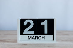 March 21st. Day 21 of month, everyday calendar on wooden table background. Spring time, empty space for text Royalty Free Stock Images