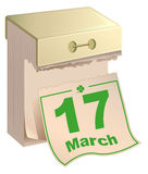 March 17 St Patrick Day. Tear-off calendar March 17 Royalty Free Stock Photos
