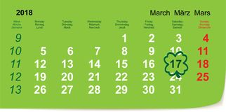 March 17, 2018 St. Patrick`s Day Calendar. Vector illustration icon Stock Photos