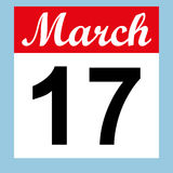 March 17 St. Patrick`s Day on a calendar Stock Image