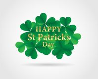 17 MARCH St Patricks Day .  background.  Card design with paper. Art green shamrock ,white background .Vector Stock Photography