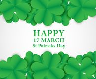 17 MARCH St Patricks Day .  background.  Card design with paper. Art green shamrock ,white background .Vector Royalty Free Stock Photography