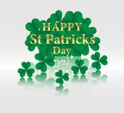 17 MARCH St Patricks Day .  background.  Card design with paper. Art green shamrock ,white background .Vector Stock Photo
