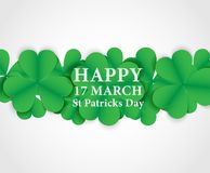 17 MARCH St Patricks Day .  background.  Card design with paper. Art green shamrock ,white background .Vector Royalty Free Stock Photos
