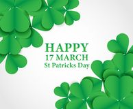 17 MARCH St Patricks Day .  background.  Card design with paper. Art green shamrock ,white background .Vector Stock Photos